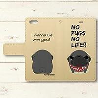 【PUGBIIKI】【iphone】かわいいパグの両面印刷手帳型ケース 表面:黒パグ、内面:黒パグ (iphone6splus)