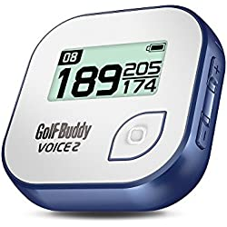 "GolfBuddy Voice 2 Golf GPS/Rangefinder, Unisex, GB7-VOICE2-WHE-BLU, White/Blue, 1.76"" × 1.78"" × 0.49"""