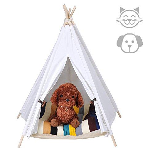 RoomClip商品情報 - Milkee ティピーテント 犬小屋 ペット テント ハウス 犬 猫 遊び小屋 簡単組み立て 可愛い ホワイト S