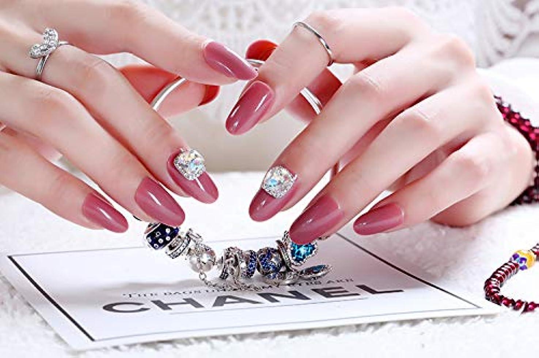 受動的に向かってグリルネイルアートを着用する 24枚入 高品質 ジュエリーインレイ 人工ダイヤモンド 輝く エレガント 中位の長さ 手作りネイルチップ ネイル花嫁 (あんこ)
