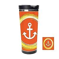 二重層トラベルカップ,海底を制御する円の中のアンカー,絶縁コーヒーカップ、ステンレスライナー、効果的な断熱,ンスの冷たい飲み物と熱い飲み物。容量:18オンス、約510 ml。