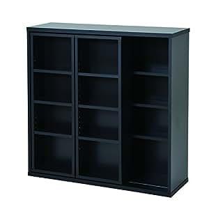 山善(YAMAZEN) 大容量ダブルスライド本棚 ブラック CSCS-9090(BK)