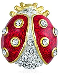 Lucky Ladybug Red Gold Plated Enamel Crystal Insect Lapel Push Pin for Women for Teen