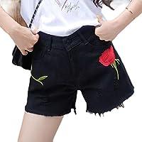 Howely Womens Raw Hem Denim Destroyed Fashionable Slim-Fit Jeans Shorts