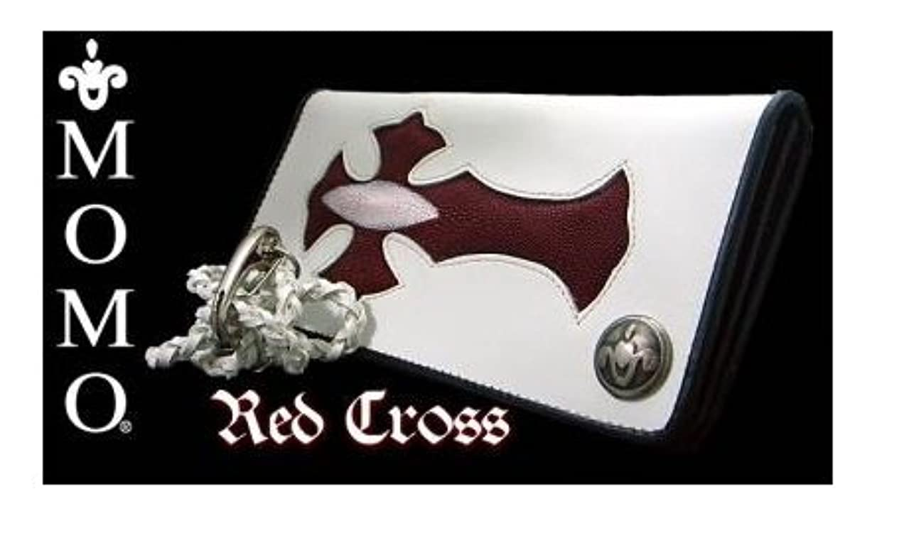 励起長椅子二度本物エイ革クロス二つ折り長財布◆ロングウォレット レッドクロス