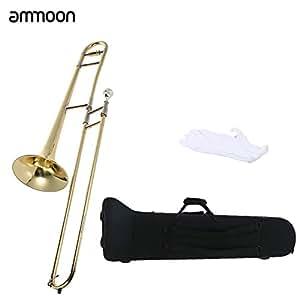 ammoon Bb トーン Bフラット テナートロンボーン 初心者入門セット 管楽器 ゴールドラッカー