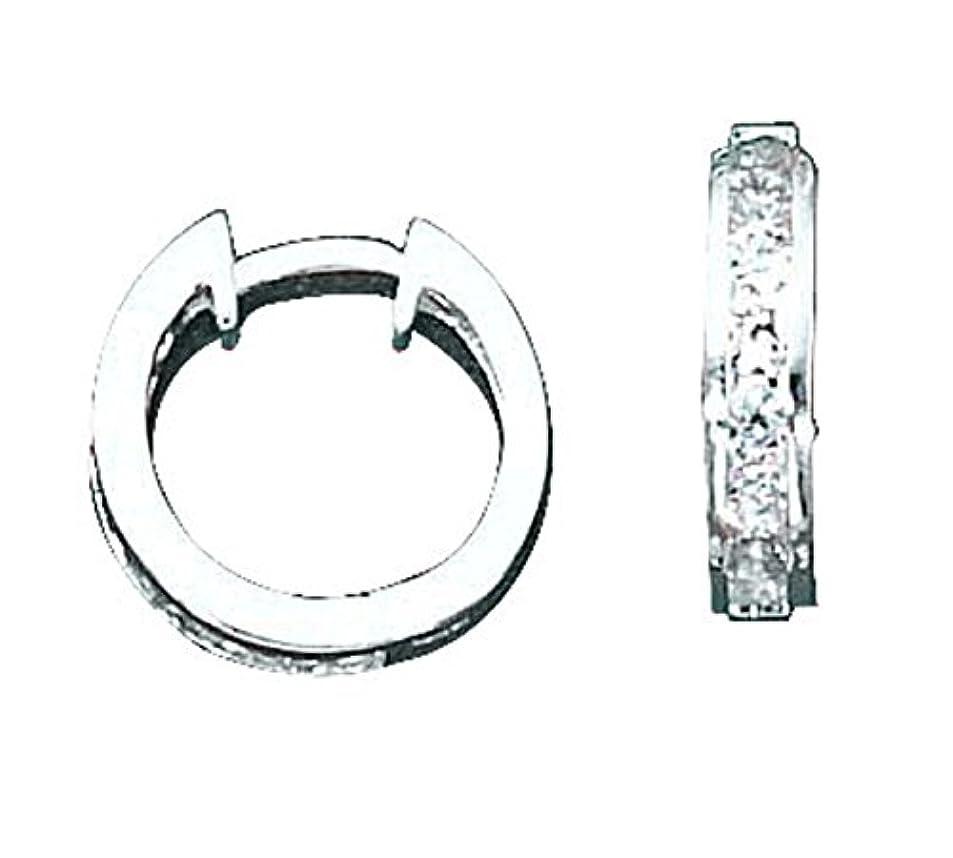血色の良いゆるくピークスターリングシルバー 15mm メンズ ユニセックス キュービックジルコニア フープピアス