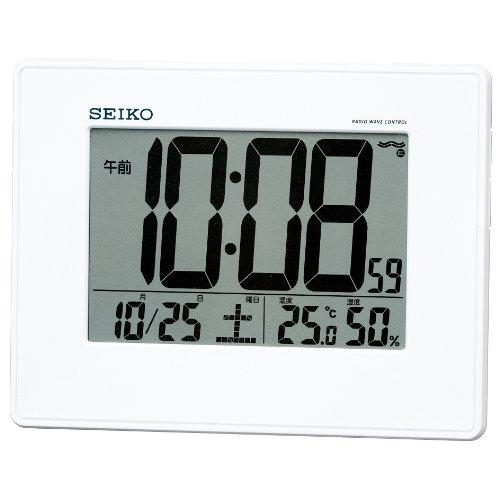 SEIKO CLOCK (セイコークロック) 目覚まし時計 電波 デジタル 掛置兼用 カレンダー・温度・湿度表示 大型画面 白パール SQ770W