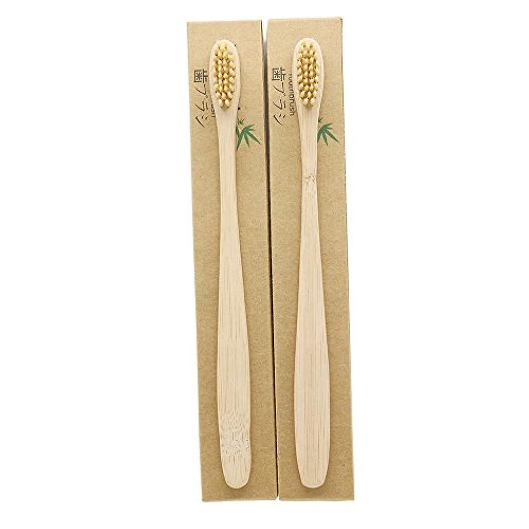 野望怒っている戸口N-amboo 竹製耐久度高い 歯ブラシ 2本入り セット エコ ヘッド小さい クリ—ム色