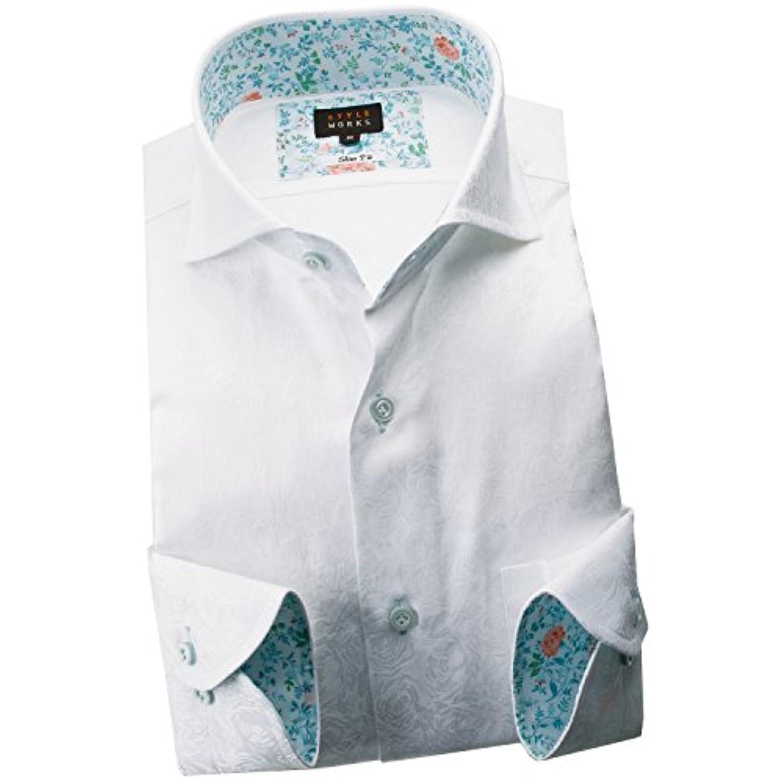 RSD680-301-0106-LL (スタイルワークス) メンズ長袖ワイシャツ 白カッタウェイ ワイドカラー | 白/LL