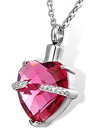 HOUSWEETY メンズ レディース 10月 誕生石 メモリアル ネックレス ペンダント ハート形 ダイヤモンド 色:薔薇色