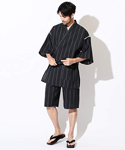 JIGGYSSHOP甚平2点セット(甚平上下扇子)メンズ甚平上下セットしじら織り綿100%和服S黒太縞