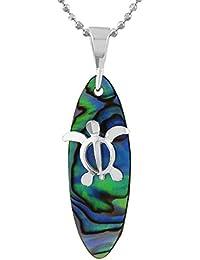 [ハワイアン シルバー ジュエリー] Hawaiian Silver Jewelry アバロニ (アワビ貝) × ホヌ (亀) サーフボード型 ネックレス シルバー925 [インポート]