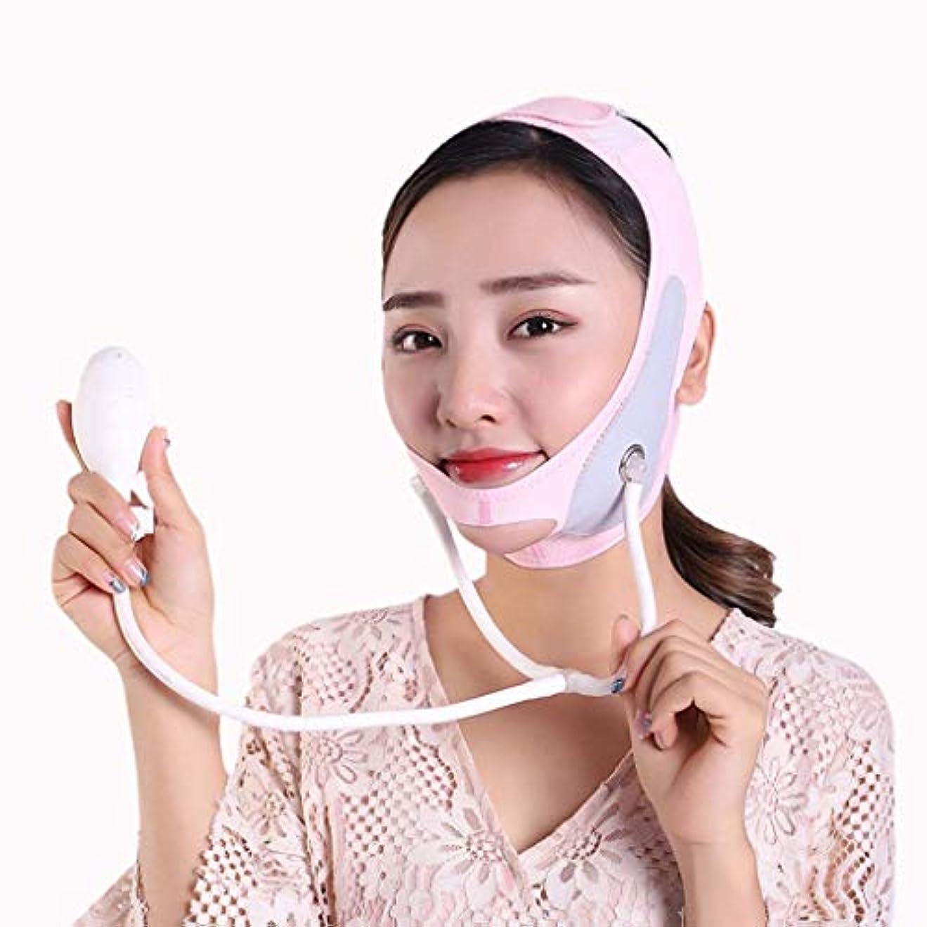 顔料模索フォーマットインフレータブルフェイスリフティングマスク、リフティング&タイトニング、フェイスリフティング包帯、ダブルチン、シンフェイスバンド(サイズ:M),L