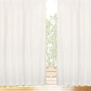 【1枚入り】 プライバシーミラーレース 【冬温夏涼】 サラクールとウェーブロン使用で夜も目隠し 遮熱効果 (31.7%断熱効果 約90% UVカット 遮像 昼夜目隠し 日本製 カーテン レース ミラー レースカーテン 遮熱 保冷) トウオンカリョウ 色:ナチュラル サイズ:(幅)150×(丈)176cm×1枚入