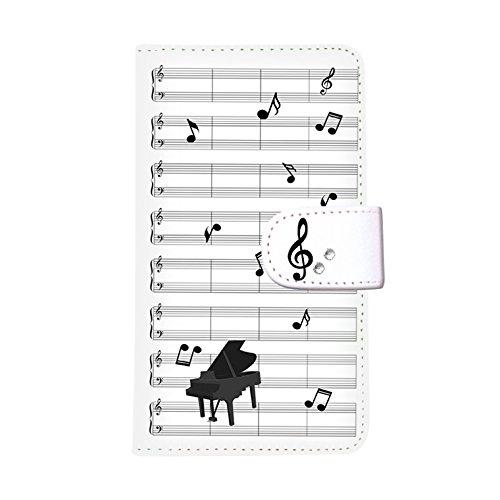 HUAWEI P10(4) 手帳型ケース smh-145 (A) おしゃれ かわいい カードポケット 携帯カバー スタンド機能 財布型カバー スマホケース マグネット ストラップ デコケース デコ スワロフスキー 全機種対応 送料無料 カバー スマホカバー ケース 人気 ピアノ 音楽 音符 楽譜 楽器 サックス トランペット バイオリン ギター