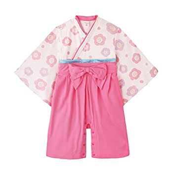 GudeHome 女の子 和装フォーマル ロンパース 袴風 着物 ベビー服 長袖 カバーオール キッズ コスチューム 綿100% (ピンク 70cm)