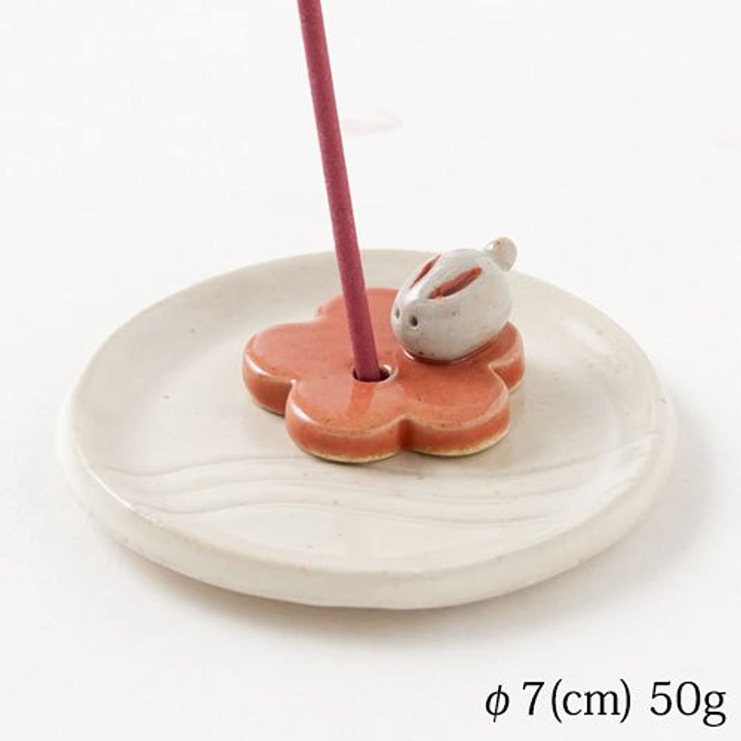 驚きプール傾いた手作り花兎香立 (K3538)Incense stand