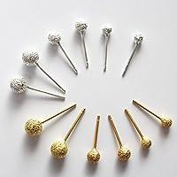 K18 ホワイトゴールドピアス・のシンプル 1粒タイプ スダッズ 普段用丸ボール silver 925 18k ピアス プレゼント ギフト silver,3mm