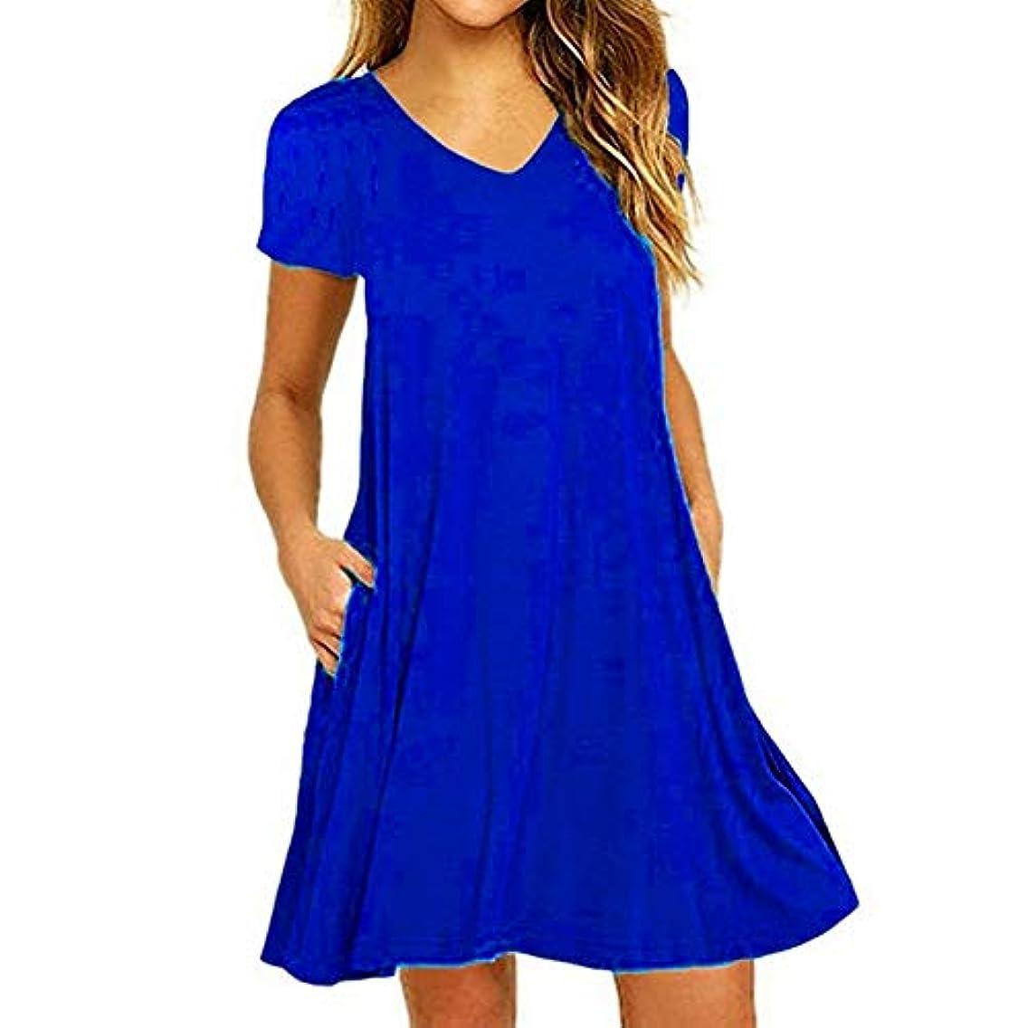 エコー兵隊こねるMIFAN の女性のドレスカジュアルな不規則なドレスルースサマービーチTシャツドレス