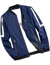 maweisong メンズコンフォートスリムカジュアル特大のバーシティジッパーコートジャケット