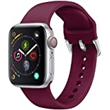 Ontube Strap Compatible with Apple Watch,Soft Silicone Sport Bands Wristband for Apple Watch Series 5/4/3/2/1 (42MM/44MM, Red Wine)