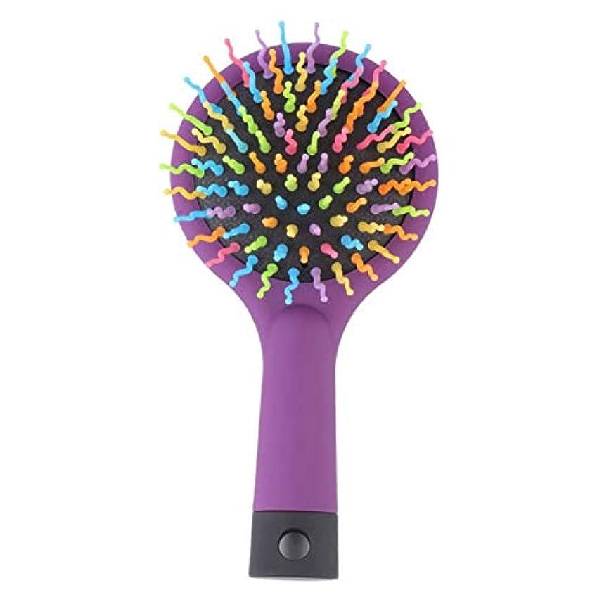 マラドロイト口径飛ぶ2015ホット販売1ピース虹ボリューム帯電防止マジックデタングラー髪カールストレートマッサージ櫛ブラシスタイリングツールミラー付き-パープル