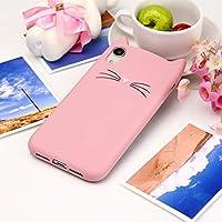 CHENJUAN IPhone XRのための猫のひげパターンシリコン保護ケースデザイン (色 : ピンク)