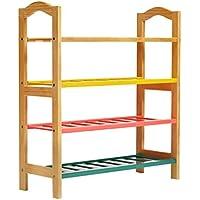 3/4ティア靴ラックスラットカラーの木製の収納キャビネット家具オーガナイザー6~12ペア (サイズ さいず : 74 * 28 * 80.5cm)