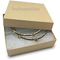 The Display Guys Pack of 25 Cotton Filled Cardboard Paper Kraft Jewelry Box Gift Case - Kraft (3 1/2x3 1/2x1 inches #33)