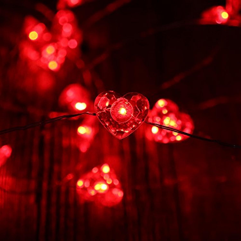 RUICHEN LEDイルミネーションライト ハート型 ストリングライト リモコン付き電池式 バレンタインデー イベント フェス  パーティー ダンス クリスマス 結婚式 全長3m LED40球 (レッド)