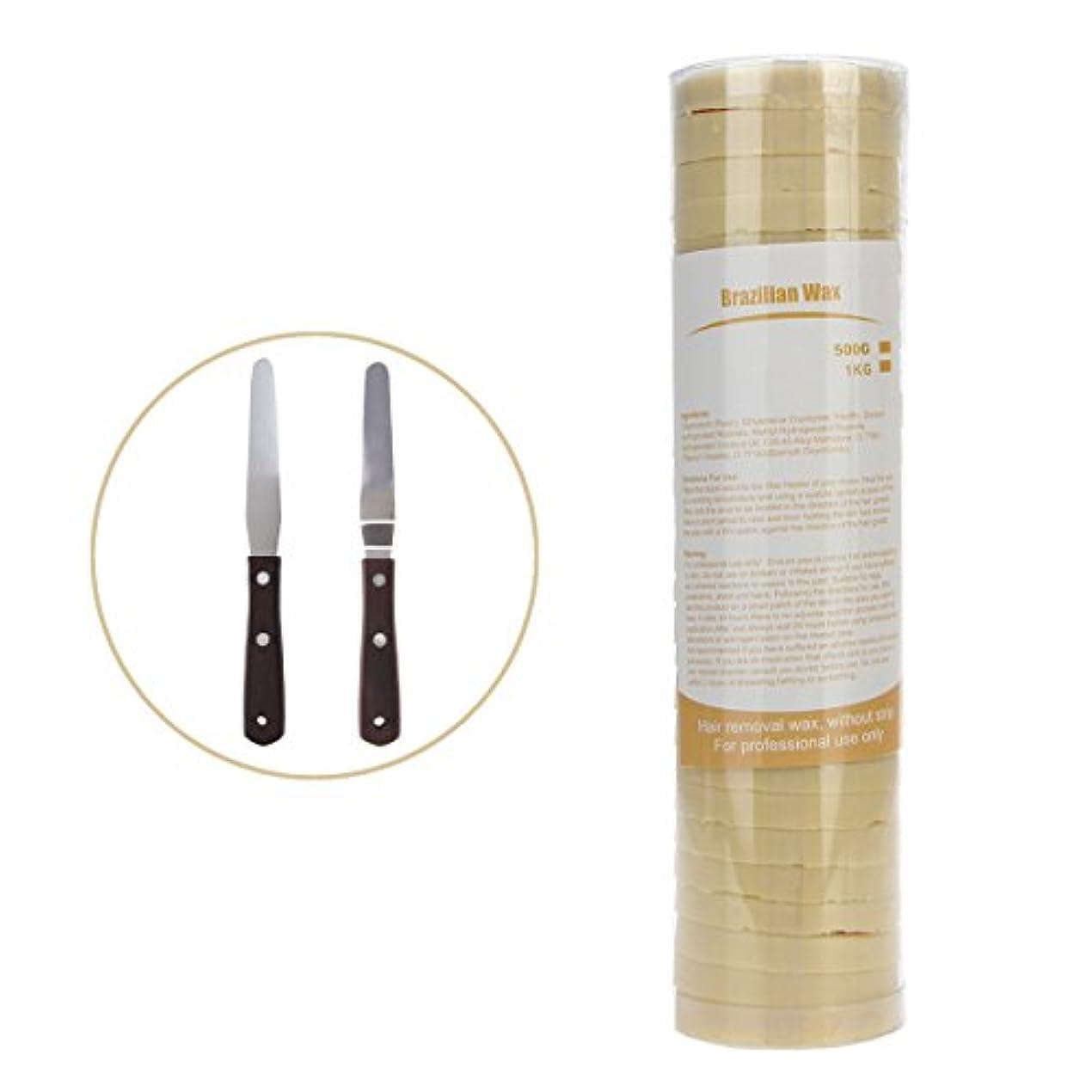 食べるカイウスランドリー(アーニェメイ)Bonjanvy ハードワックス 脱毛 ビーズ 500g 1缶 ブラジリアンワックス 鼻毛 スティック 2本 セット-クリーム