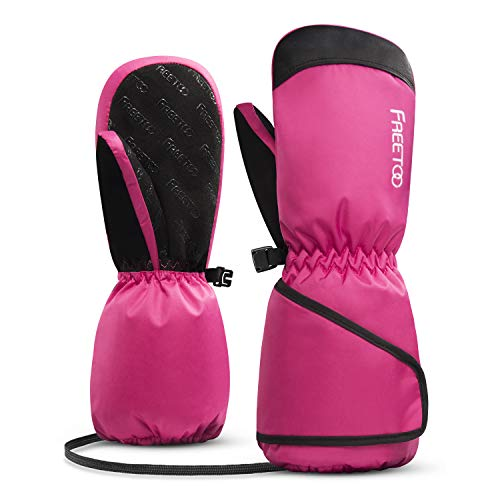 FREETOO スキーグローブ キッズ スキー手袋 グローブ 子供用 冬 防水 防寒 通気 (ピンク, S)