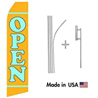 Yellow Open Econo Flag | 16ft Aluminum Advertising Swooper Flag Kit with Hardware [並行輸入品]