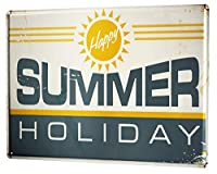 [ZUNYI]壁の装飾 ブリキ 看板 楽しい夏休み 家、パブ、ビール、ガレージ、庭、コーヒー[20X30CM]