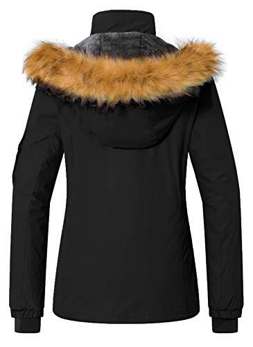 Wantdo Women's Hooded Skiing Jacket Mountaineering Insulated Rainwear Outdoor Windproof Snow Coat Detachable Hood for Hiking(Black, Small)