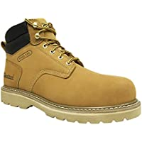 Overstone Men's 6'' Steel Toe Leather Work Boot, Electric Hazard Protection, Puncture Proof Protection, Lightweight Construction Work Shoes