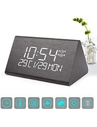 目覚まし時計 デジタル時計 ウオームホーミング木質製デジタルアラームは、7級の明るさ調節機能を備え、音声コントロールできるデジタルLEDベッドサイドトラベル三角形アラームは、時間、日付、温度を表示することができて、寝室やオフィス及び家にてよく適用されている。 (黑色)