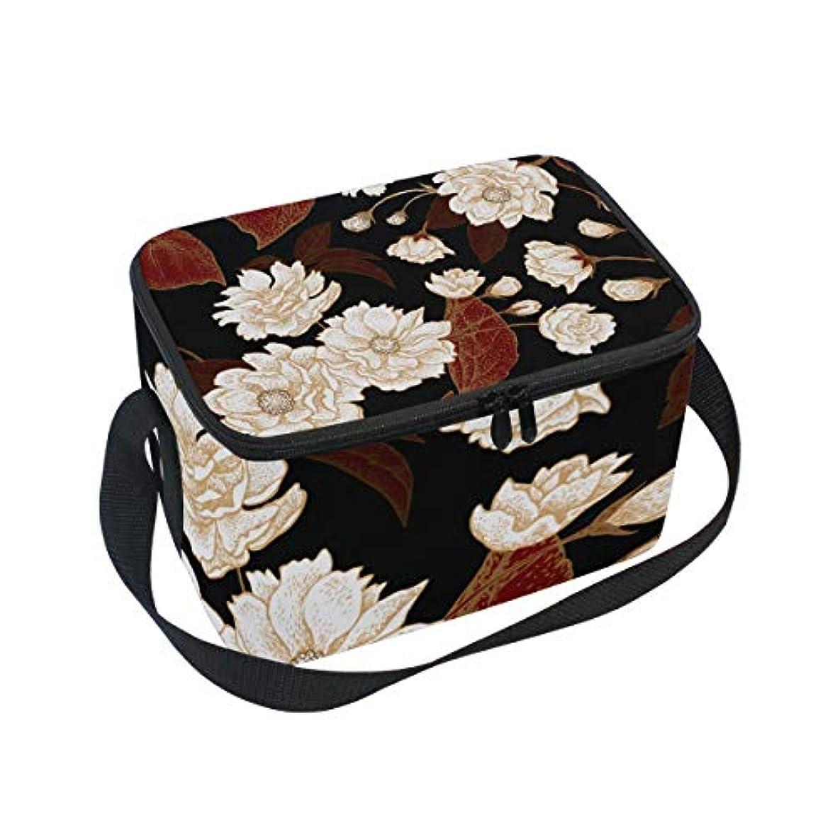 金曜日クライアント火山学クーラーバッグ クーラーボックス ソフトクーラ 冷蔵ボックス キャンプ用品 花柄 黒と白 保冷保温 大容量 肩掛け お花見 アウトドア