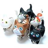 【ぴぴっと】 猫グッズ かわいい ネコちゃん キーホルダー (5個セット)
