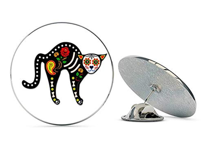 NYC Jewelers シュガースカル Cat Dia De Los Muertos メタル 0.75インチ ラペルハット ピン タイタック ピンバック