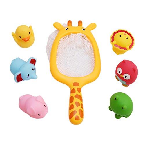 PINKING おもちゃ 子供 幼児 お風呂 水遊び 水鉄砲 動物 大人気 浮かぶ ネット付き 7個セット