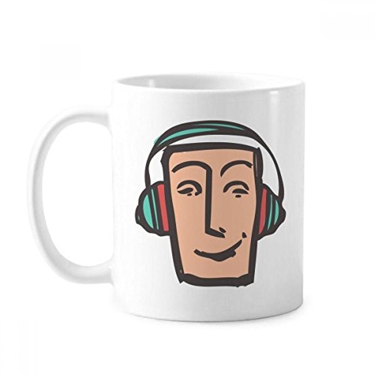 びっくりしたアセンブリ露骨なヘッドセットの抽象的な顔スケッチ絵文字チャットクラシックマグカップ白陶器セラミックカップギフトミルクコーヒーで350 mlのハンドル