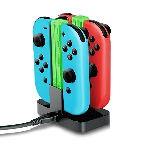 J-KONKY Nintendo Switch ジョイコン 4台同時に充電チャージャー Joy-Con用 挿すだけ 充電グリップ LEDインジケータ USBケーブル付き