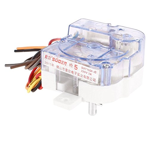 uxcell 洗濯機タイマー タイマーコントローラー クリアシェル 6ワイヤ  AC220V 3A
