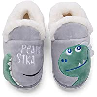 Plzensen Girls Boys Cute Home Shoes Kids Fur Lined Indoor House Slipper Warm Winter Home Slippers