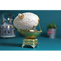女の子のためのオルゴールイースターエッグ卵殻オルゴール ゴールドJewerlyボックス