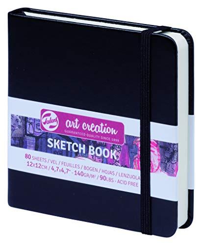 ターレンス アートクリエーションスケッチブック 絵を描く手帳 12×12cm 黒 厚み140g/㎡ 細目 中性 80枚綴じ T9314-004M