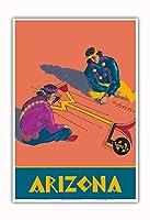 アリゾナ州 - ホピインディアンズの砂の絵 - サンタフェ鉄道 - ビンテージな鉄道旅行のポスター c.1940s - アートポスター - 33cm x 48cm