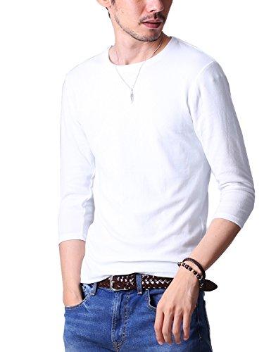 FTELA(フテラ)メンズ シャツ カットソー Tシャツ ロンTクルーネック 丸首 無地 7分袖 シンプル スリム 春 ホワイト M
